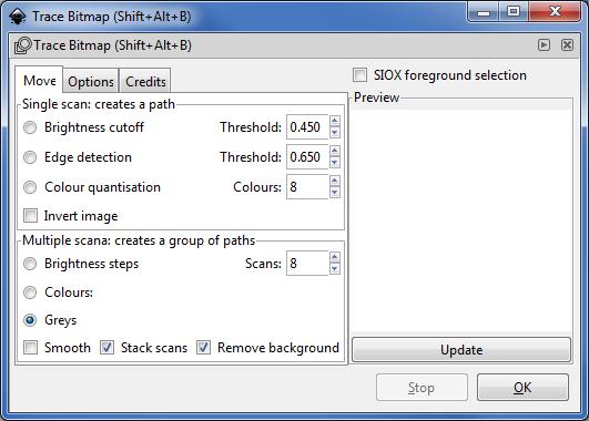 Inkscape : boîte de dialogue vectoriser le bitmap