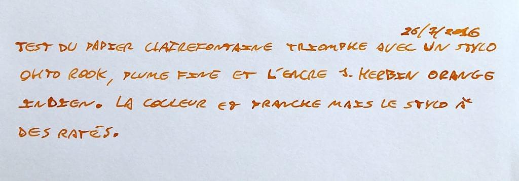 Test sur papier Clairefontaine Triomphe : la couleur est franche mais le stylo a des râtés.