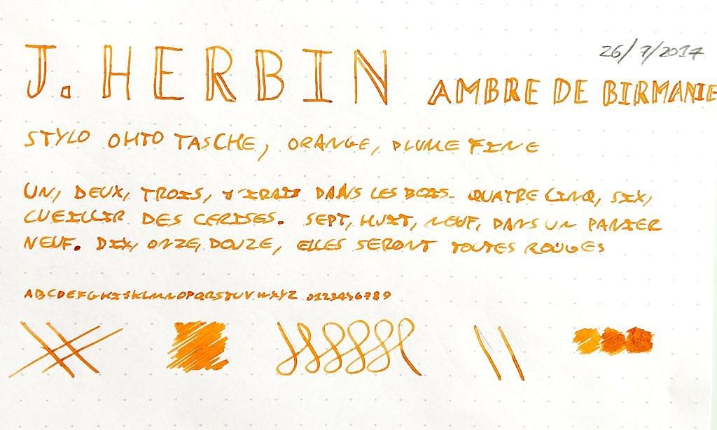 Fiche encre J. Herbin Orange Indien
