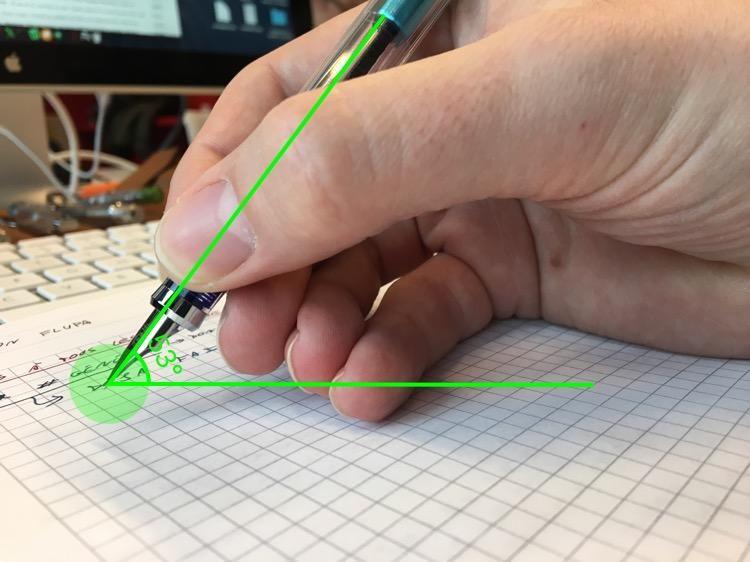 Angle d'écriture