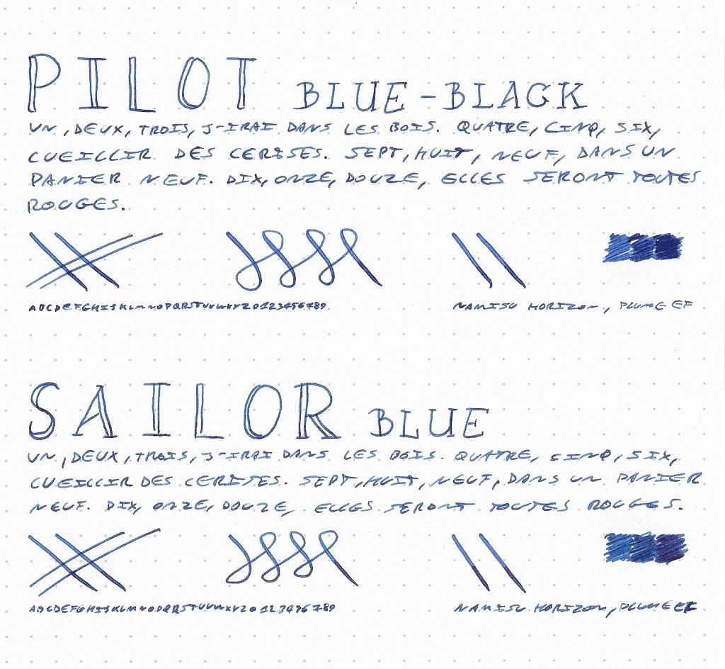 Pilot Blue-Black vs. Sailor Blue - Dotpad